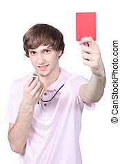 Boy showing red card