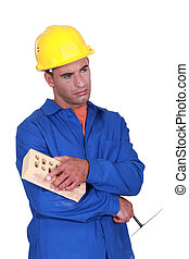 Sad bricklayer