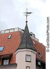 Riga - roof and spire of the old house. Riga Latvia