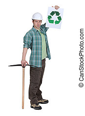 Worker holding pick-ax and recycle logo