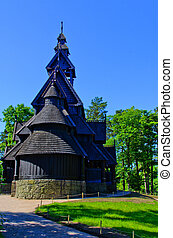 church oslo - An old log church at the folk museum in Oslo...