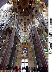 ceiling of the Sagrada Familia - The ceiling of the Sagrada...