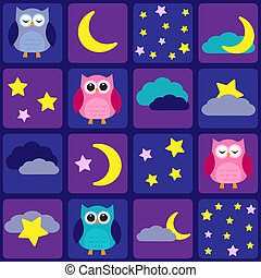 Night sky with owls. Seamless vector pattern