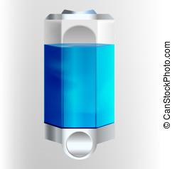 Filled soap dispenser illustration
