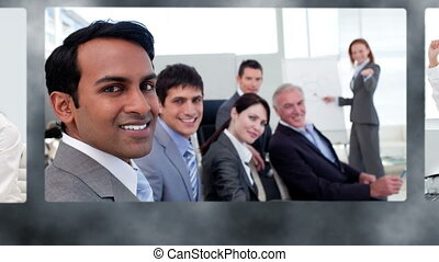 Montage of happy business team together in their company