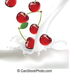 Vector Cherries falling into a Splash of Milk
