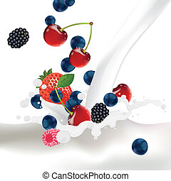 Vector Berries falling into a Splash of Milk