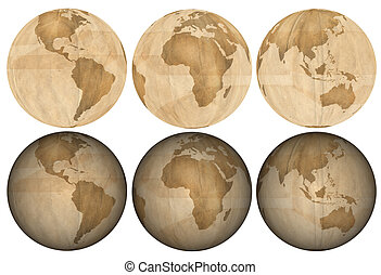 Earth made of Brown Paper - Three views of earth made of...