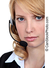 young blonde receptionist on the phone