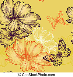 Seamless floral background with wild roses and butterflies,...