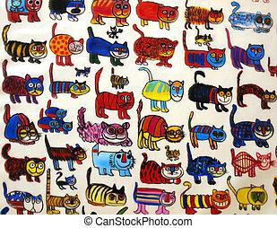 Many funny cats - Many funny cats isolated on white...