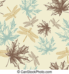 Seamless pattern of autumn, maple leaves and a dragonfly,...