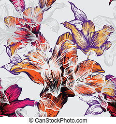 Seamless pattern with blooming lilies, hand-drawing Vector...