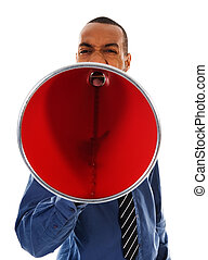 Red Megaphone - African-american business man yelling in a...