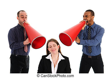 Team Harrassement - business people with megaphone...