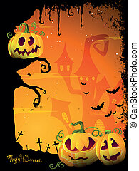 Vector Halloween Design with scary Halloween Pumpkins