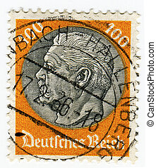 GERMANY - CIRCA 1933: A 100pf stamp printed in Germany...