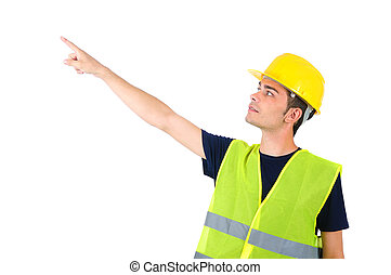 Isolated worker with helmet pointing