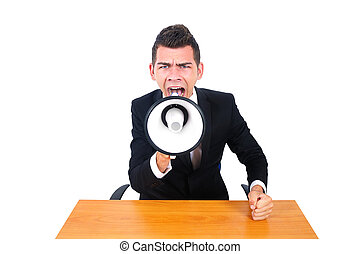 Isolated business man screaming with loudspeaker