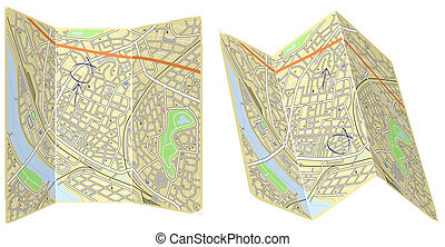 Folding maps - Illustration of two folded generic maps with...