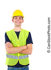 Isolated worker with helmet standing
