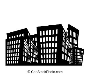 Buildings Illustration - Illustration of black and white...