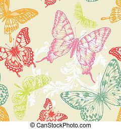 Seamless pattern with flying butterflies, hand-drawing....