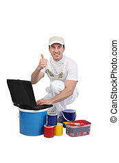 Painter with a laptop