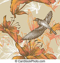 Seamless pattern with lilies and a flying bird, hand-drawing...