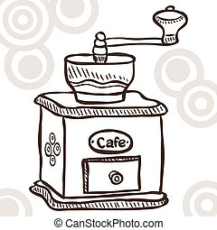 Old coffee mill - Illustration of retro coffee mill - doodle...