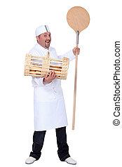 Baker shovel and basket of bread