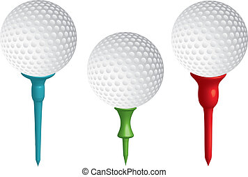 Golf balls on golf tees,vector - golf balls on different...