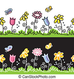 Summer flowers  and butterflies on meadow