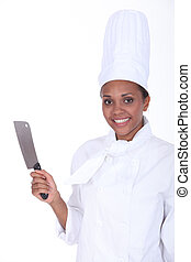 Chef holding meat cleaver