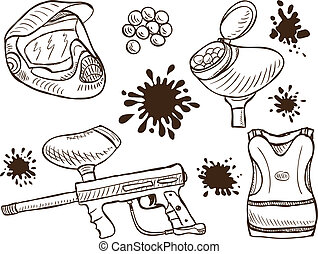 Paintball equipment doodle style - Illustration of paintball...
