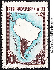 Postage stamp Argentina 1936 Map of South America -...