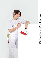 Painter holding a blank sign