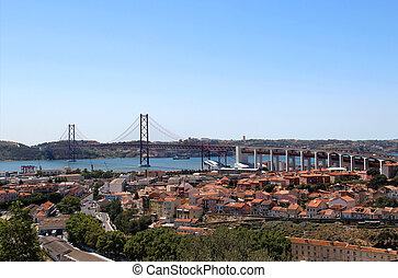 Lisbon, Portugal, 25th of April Bridge panorama