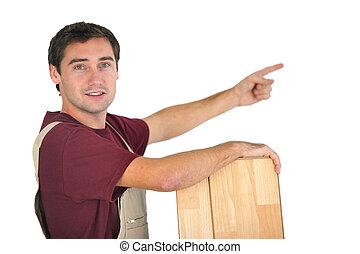 craftsman pointing at something