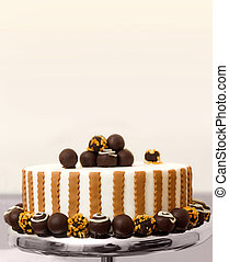 Bonbon cake - Chocolate bonbon cake on plate. Copy space...