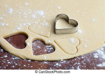 Baking heart cookies - Baking heart shape cookies for...