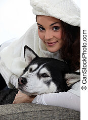 young woman and her dog