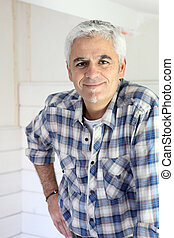 Grey haired handyman