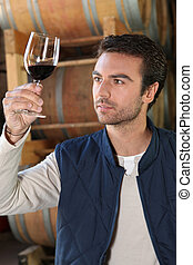 Winemaker in cellar with wine