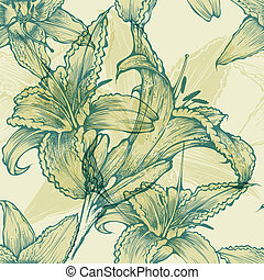 Seamless floral background with blo
