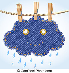 Rain cloud on a clothesline - Jeans rain cloud with a cute...