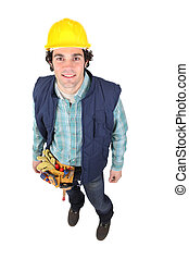 High-angle shot of a construction worker
