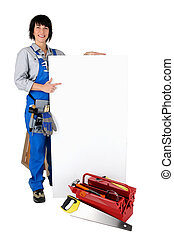 handywoman showing a white panel