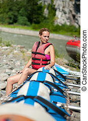 water rafting, woman and raft boat - white water rafting -...