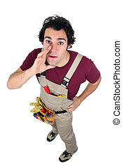 Laborer in dungarees on white background